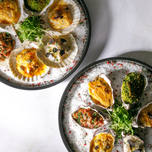 Baked Jumbo Oyster and Sea Scallop in Different Styles