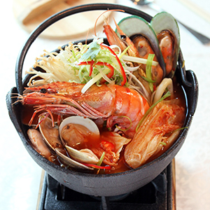 Assorted Seafood with Kimchi in Spicy Soup